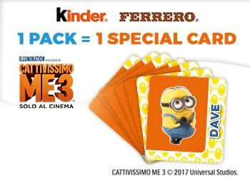"""Con le merendine Kinder e Ferrero in omaggio le CARD Stacca e Attacca di """"CATTIVISSIMO ME-3"""""""