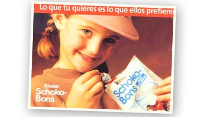 1991<br />Se lanza en el mercado español Kinder Schoko-Bons, el primer bombón rico en leche para los niños.