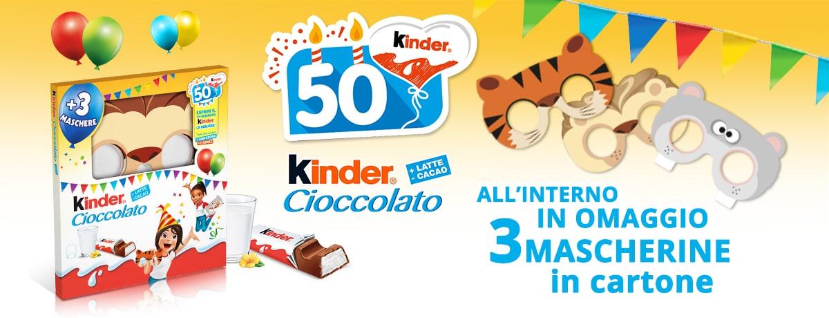 Kinder Cioccolato 50 anni - Edizione Limitata con Mascherine