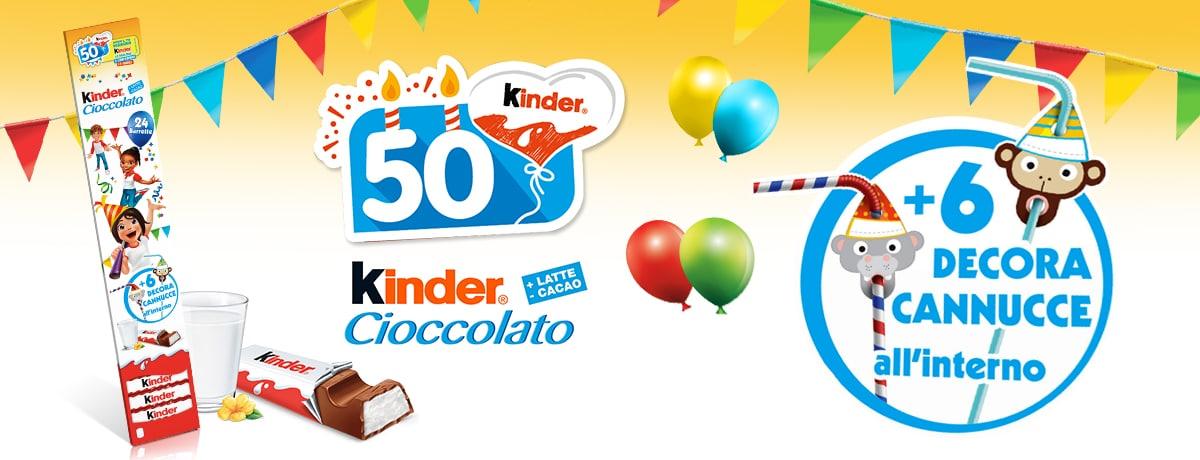 Kinder Cioccolato 50 anni - Edizione Limitata con Decora Cannucce