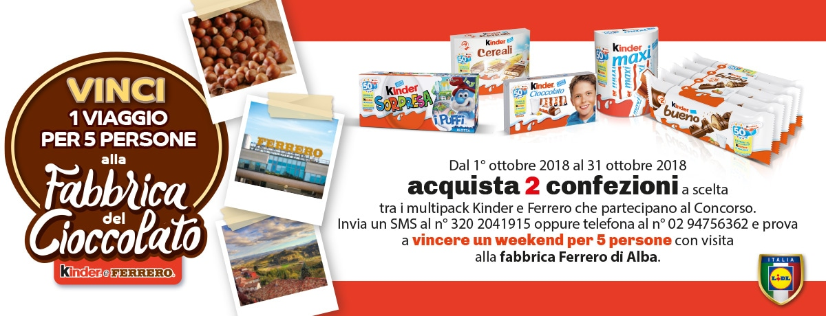 Vinci un week end alla Fabbrica del Cioccolato con LIDL - 2018