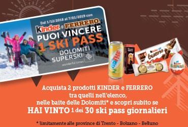 Con Kinder e Ferrero puoi vincere 1 Skipass Dolomiti Superski