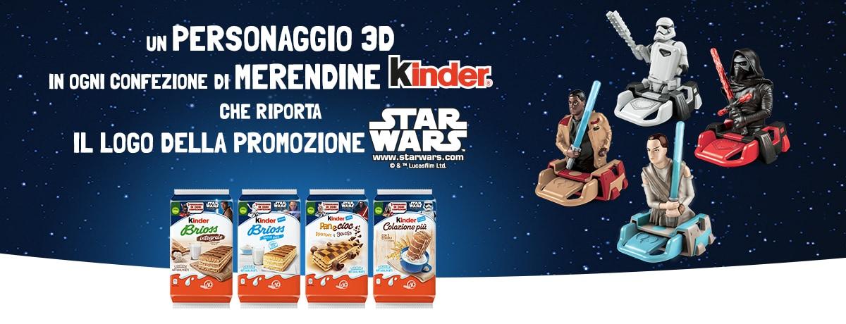 Con le merendine Kinder in omaggio un personaggio 3D della collezione di STAR WARS