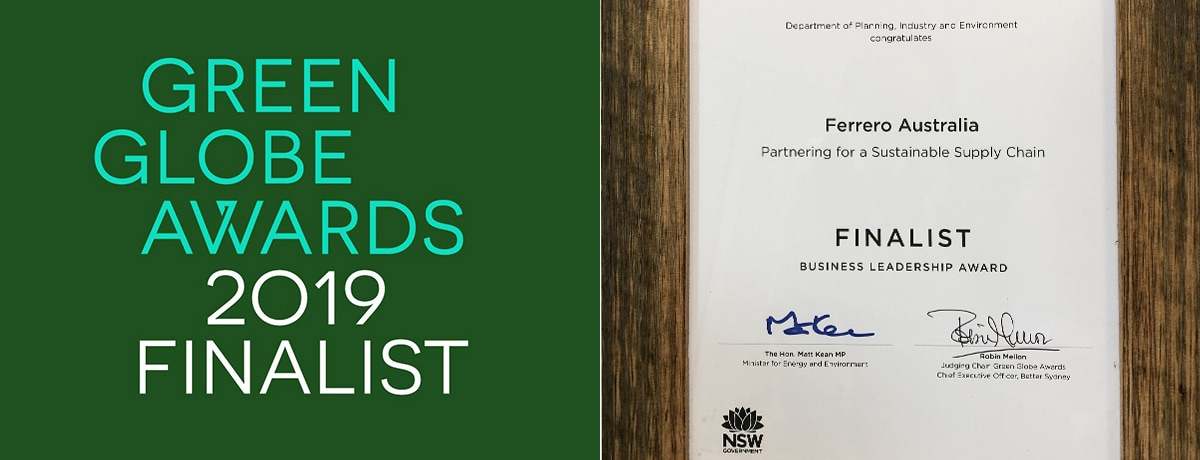 Ferrero Australia recognised as a finalist at the 2019 Green Globe Awards