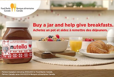 Nutella® announces partnership with Food Banks Canada to help provide breakfasts