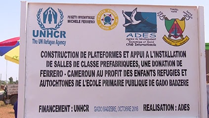 Notice of the construction works of the classrooms at the refugee camp in Gado Badzere