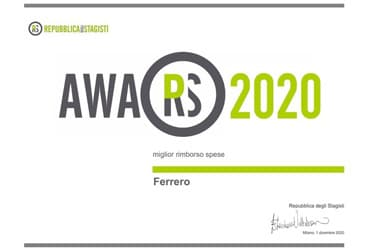 FERRERO PREMIATA ALL'EVENTO BEST STAGE 2020